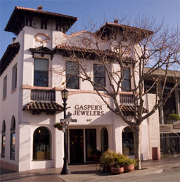 Exterior of Gasper's Jewelers on Alvarado Street.